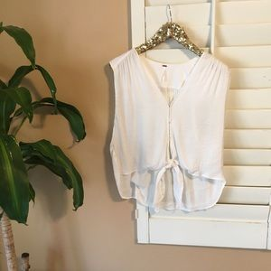 Free People White Front Waist Tie Top